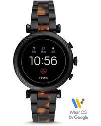 Fossil Smartwatch Sloan HR 4. Generation Edelstahl/Acetat Schwarz/Braun Multi