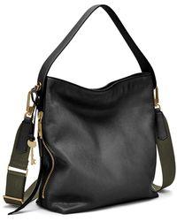 Fossil Maya Leather Small Hobo Purse Handbag - Black