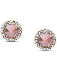 Fossil Clous d'oreilles Power Of Crystals en acier inoxydable rose -Doré