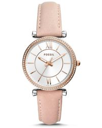 Fossil - Carlie Three-hand Leather Strap Watch - Lyst