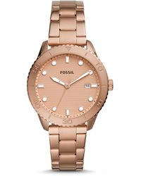 Fossil Dayle Three-hand Date Rose Gold-tone Stainless Steel Watch Jewellery - Multicolour