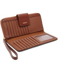 Fossil Madison Zip Clutch Wallet Swl2228210 - Brown