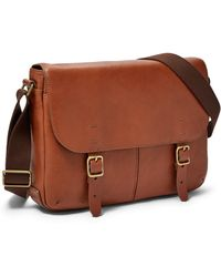 da3c34b5b1f9 Lyst - Fossil Canyon Leather Commuter in Brown for Men