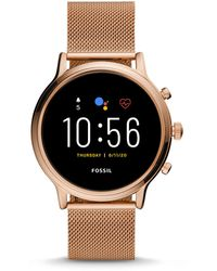 Fossil Refurbished Gen 5 Smartwatch Julianna Hr Rose Gold-tone Stainless Steel Mesh - Pink