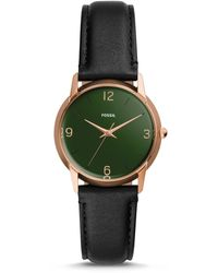 Fossil - The Archival Series Mood Watch Three-hand Black Leather Watch Jewelry - Lyst