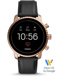 Fossil Smartwatch Explorist HR 4. Generation Leder Schwarz
