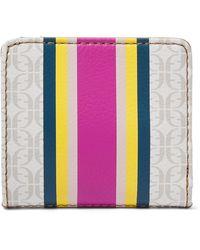 Fossil Madison Bifold Wallet Pink Stripe