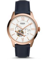 Fossil Leather Automatic Watch Me3171 - Blue