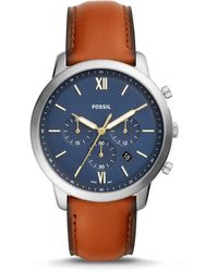 Fossil Neutra Chronograph Brown Leather Watch - Metallic