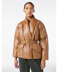 FRAME Wrap Leather Puffer - Brown