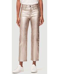 FRAME - Metallic Leather Straight Pant - Lyst