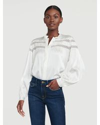 FRAME Panelled Lace Long Sleeve Top - White
