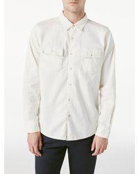 FRAME Long Sleeve Double Pocket Shirt - White