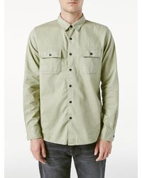 FRAME Long Sleeve Double Pocket Shirt - Green