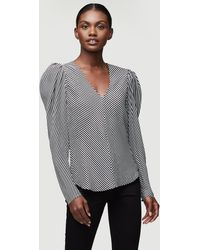 FRAME Silk Shirred V Neck Top - Grey
