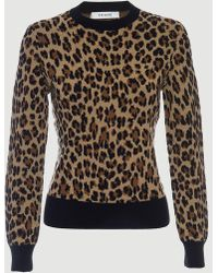 FRAME - Cheetah Crew Sweater - Lyst