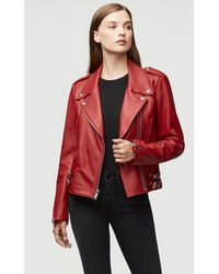 FRAME Pch Leather Moto Jacket - Red