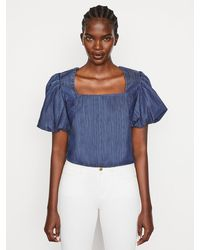FRAME Nina Cropped Blouse - Blue