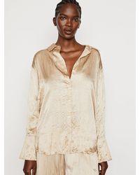 FRAME Washable Silk Boyfriend Shirt - Natural