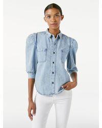 FRAME Rosette Sleeve Shirt - Blue