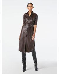 FRAME 70s Short Sleeve Leather Shirt Dress - Brown