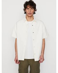 FRAME Short Sleeve Heavy Denim Loose Fit Shirt - White