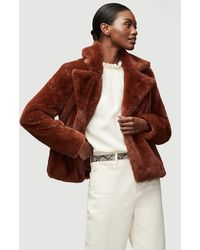 FRAME Faux Fur Wide Collar Coat - Brown