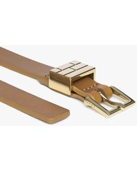 FRAME Petit Square Buckle Plaque Belt - Metallic