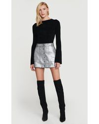 FRAME Silver Leather Skirt - Metallic