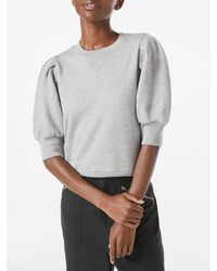 FRAME Shirred Short Sleeve Sweatshirt - Grey