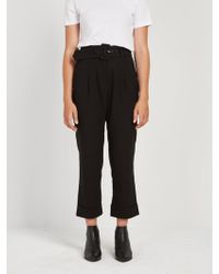 Frank And Oak - Belted Trouser Pleated Pant In Black - Lyst
