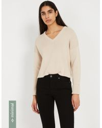 Frank And Oak - Organic-recycled-cotton V-neck Sweater - Oatmeal - Lyst