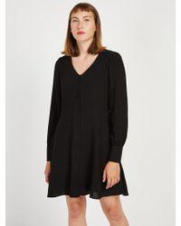 Frank And Oak - V-neck Crepe Workwear Dress In Black - Lyst