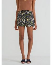 Frank And Oak - Floral Printed Satin Pull On Short In Plum - Lyst