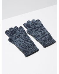 Frank And Oak - 2-tone Wool-blend Knit Gloves In Indigo - Lyst