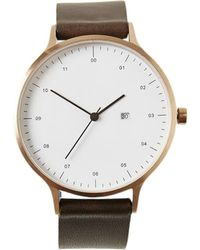 Frank + Oak | Instrmnt Brown & Rose Gold Leather Strap Watch | Lyst