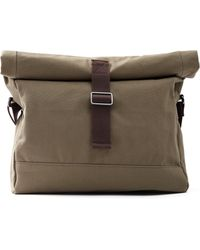 Frank And Oak - Canvas & Leather Roll-top Messenger In Military - Lyst