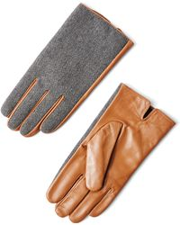 Frank + Oak - Wool & Leather Gloves In Grey - Lyst