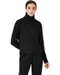 Frank And Oak - Chunky Knit Mock Neck In Black - Lyst