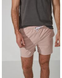 """Frank And Oak - 5"""" Pull-on Swim Trunks In Antique Pink - Lyst"""