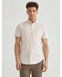Frank And Oak - Short Sleeve Linen Blend Shirt In Amber Light - Lyst