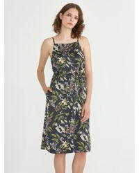 Frank And Oak - Floral Printed Satin Button Down Dress In Plum - Lyst