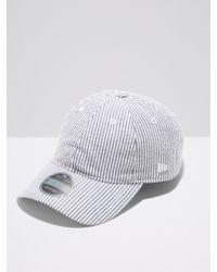 Frank And Oak - Toronto Blue Jays New Era Black Label 9twenty Adjustable Striped Cap In White/black - Lyst