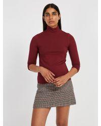 Frank And Oak - Cotton-modal Mockneck Sweater - Chocolate - Lyst