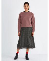 Frank And Oak Pleated Printed Chiffon Skirt In True Black