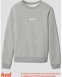 "Frank + Oak - ""and"" Man French Terry Crewneck In Grey Melange - Lyst"