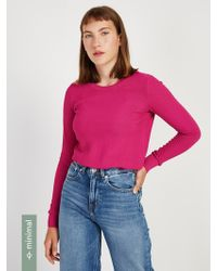 Frank And Oak - Textured Crewneck Sweater In Fuchsia - Lyst
