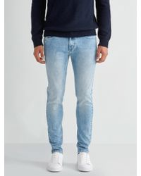 Frank And Oak - The Tyler Skinny Stretch Distressed Denim In Bleached Light Indigo - Lyst