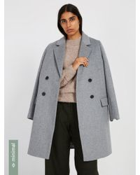 Frank And Oak - Double-breasted Cocoon Coat With Recycled Wool - Grey Mix - Lyst