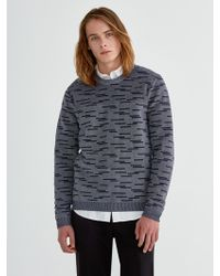 Frank And Oak - Liteweave Two-tone Jacquard Sweater In Navy - Lyst